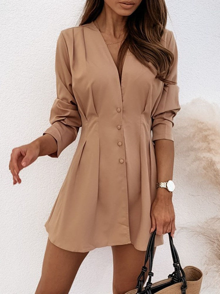 Pleated Above Knee Long Sleeve A-Line Mid Waist Dress