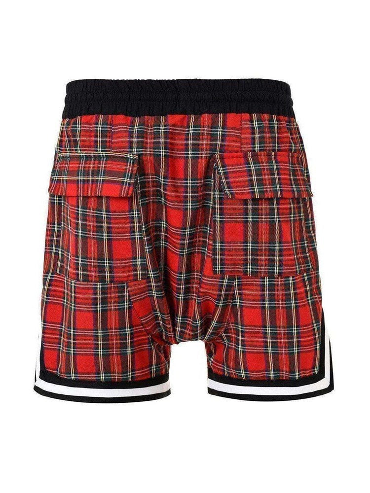 Plaid Loose Casual Mid Waist Shorts