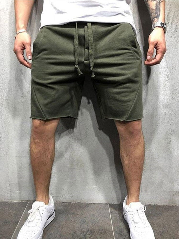Plain Slim Lace-Up Lace-Up Casual Shorts