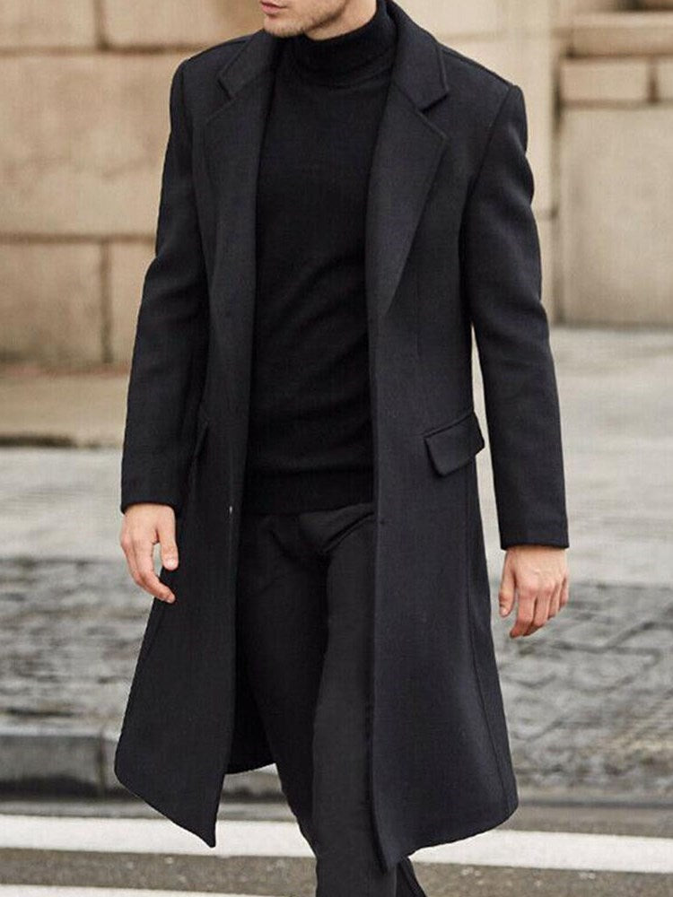 Button Long Plain Single-Breasted Straight Coat