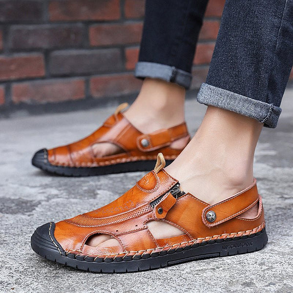 Slip-On Low-Cut Upper Flat Heel Round Toe Hollow Sandals