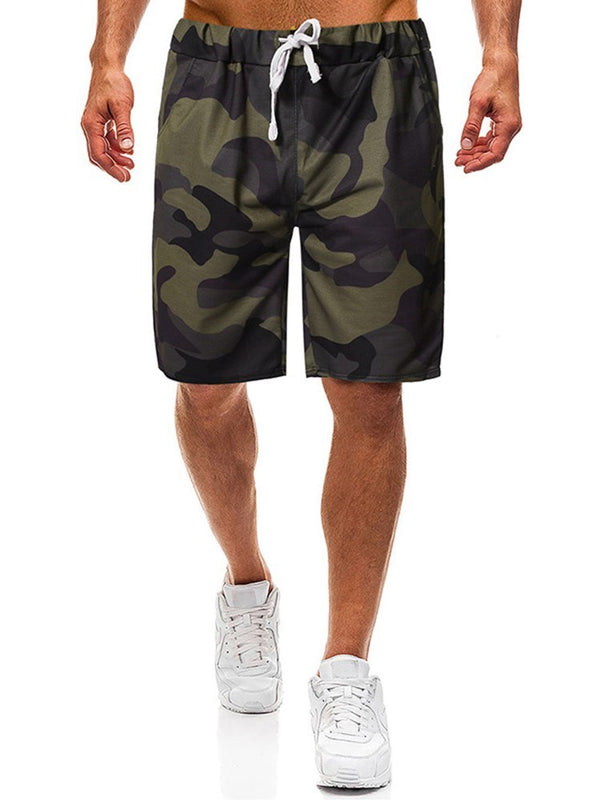 Camouflage Straight Print Lace-Up Low Waist Shorts