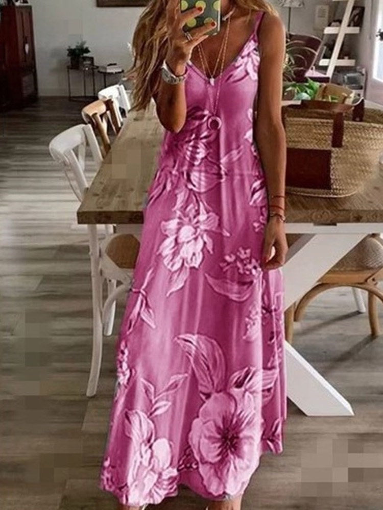 Print Sleeveless Ankle-Length Standard-Waist A-Line Dress