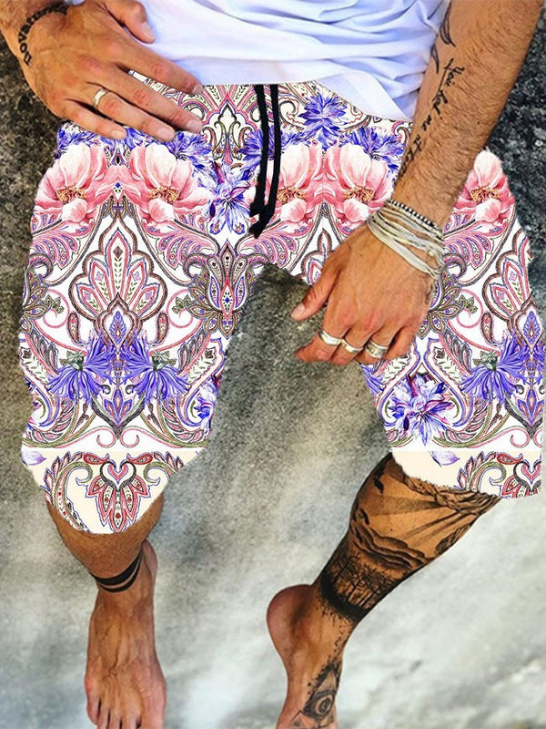 Print Straight Lace-Up Summer Casual Pants