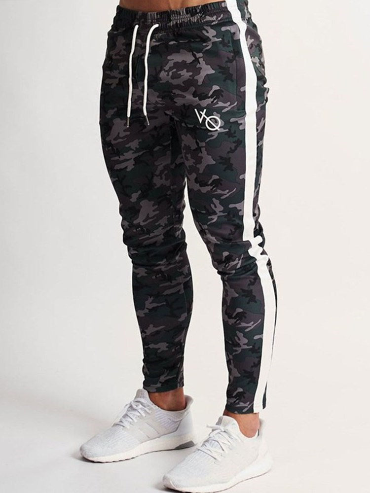 Camouflage Print Pencil Pants Spring Lace-Up Casual Pants