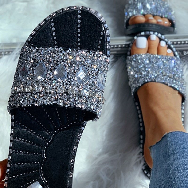 Flip Flop Rhinestone Slip-On Flat With PVC Summer Slippers