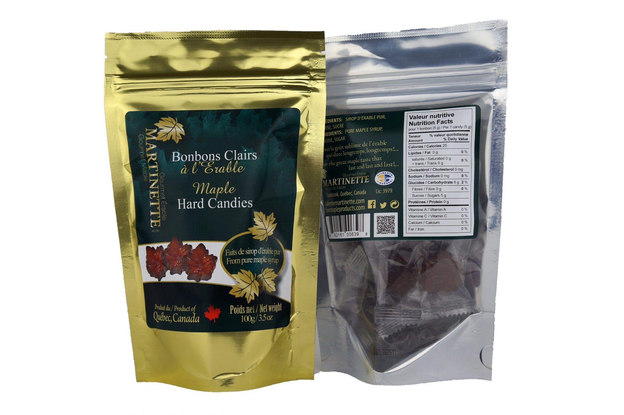 Clear maple syrup hard candy - Bonbon aus Ahornsirup aus Kanada, bag, 100g