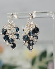 Load and play video in Gallery viewer, London Blue Topaz and Moonstone Sterling Silver Cluster Earrings