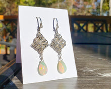 Load image into Gallery viewer, Opal Sterling Silver Celtic Labyrinth Earrings