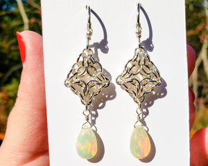 Opal Sterling Silver Celtic Labyrinth Earrings