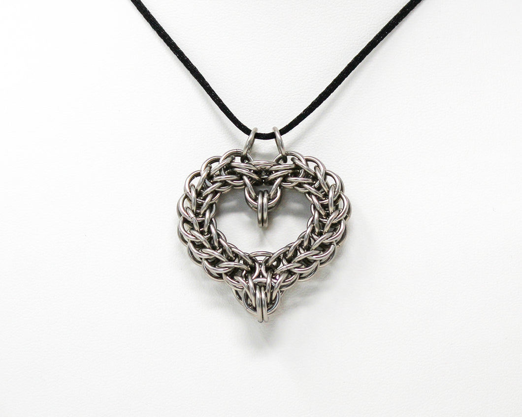 Chainmaille Heart Stainless Steel Pendant