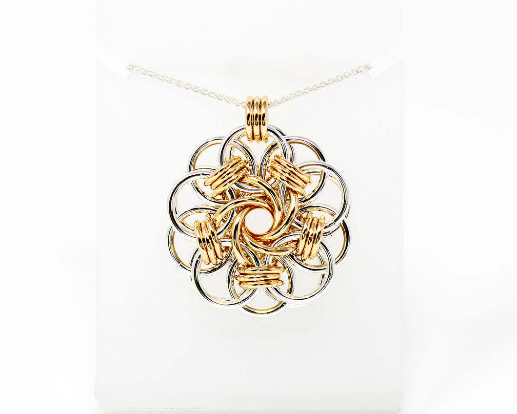 Sterling Silver and 14kt Gold fill Vortex Medallion Pendant