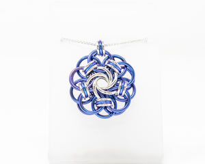 Niobium and Sterling Silver Vortex Medallion Pendant