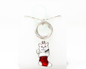 Christmas Cat Sterling Silver Pendant