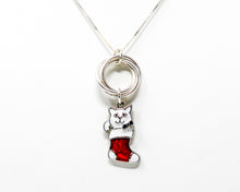 Load image into Gallery viewer, Christmas Cat Sterling Silver Pendant