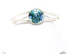 Load image into Gallery viewer, Paua Shell Hammered Sterling Silver Cuff Bracelet