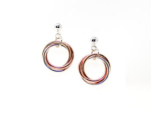 Silver and Gold Tri-Metal Mobius Earrings