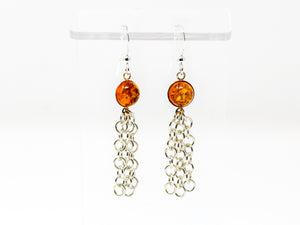 Baltic Amber Sterling Silver Tassel Earrings