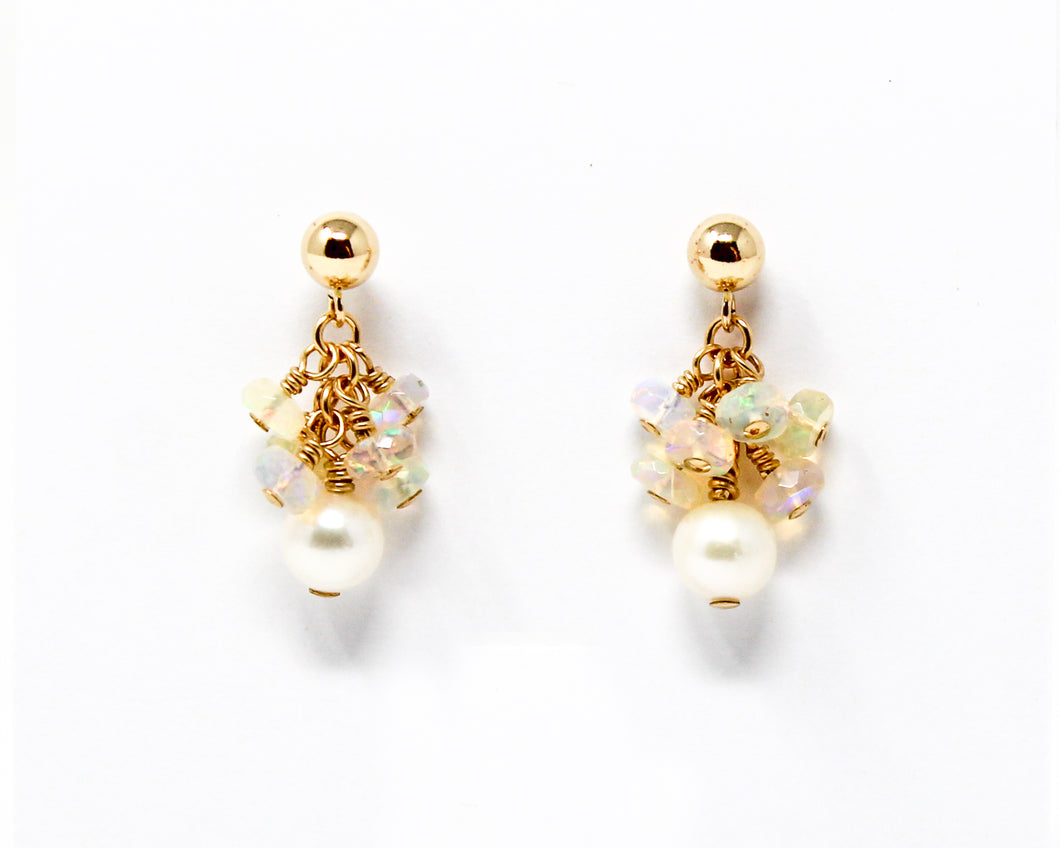 Pearl and Opal 14kt Gold fill Cluster Earrings