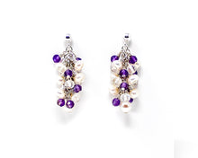 Load image into Gallery viewer, Moonstone, Amethyst and Pearl Sterling Silver Cluster Earrings