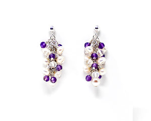 Moonstone, Amethyst and Pearl Sterling Silver Cluster Earrings