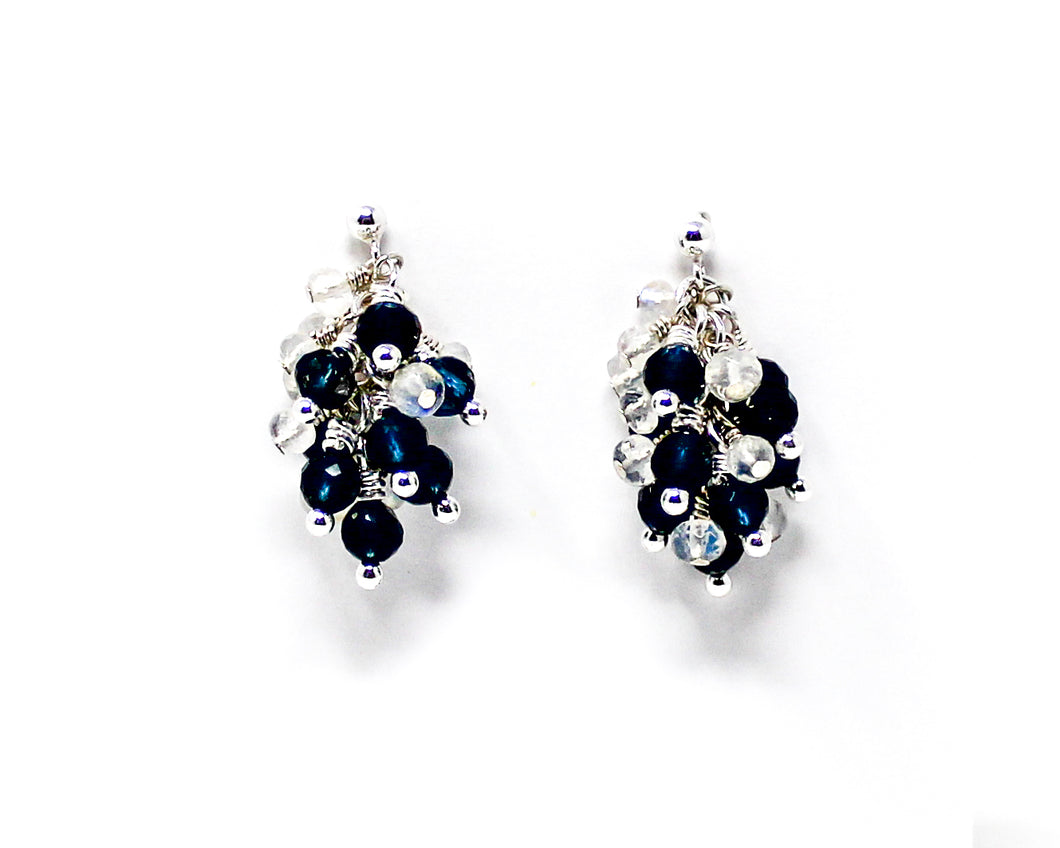 London Blue Topaz and Moonstone Sterling Silver Cluster Earrings