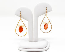 Load image into Gallery viewer, Peach Moonstone and Opal Gold Earrings