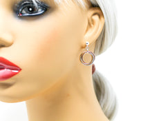 Load image into Gallery viewer, Silver and Gold Tri-Metal Mobius Earrings