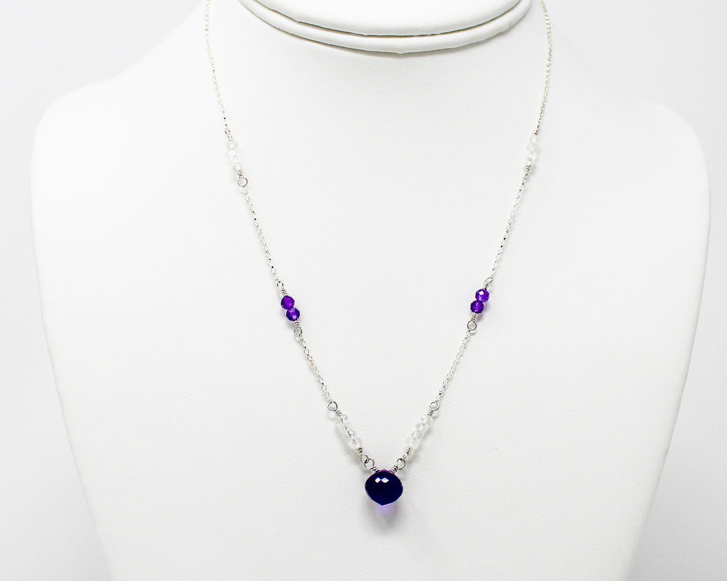 Deep Purple Amethyst and Moonstone Necklace