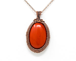 Red Jasper Copper Wire Wrapped Pendant