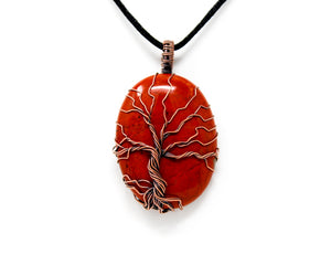 Red Jasper Tree of Life Copper Wire Wrapped Pendant