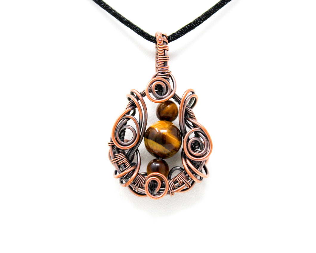 Tigers Eye Copper Wire Wrapped Pendant
