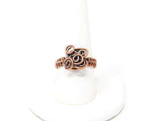 Copper Flower Wire Wrapped Ring Size 9.5