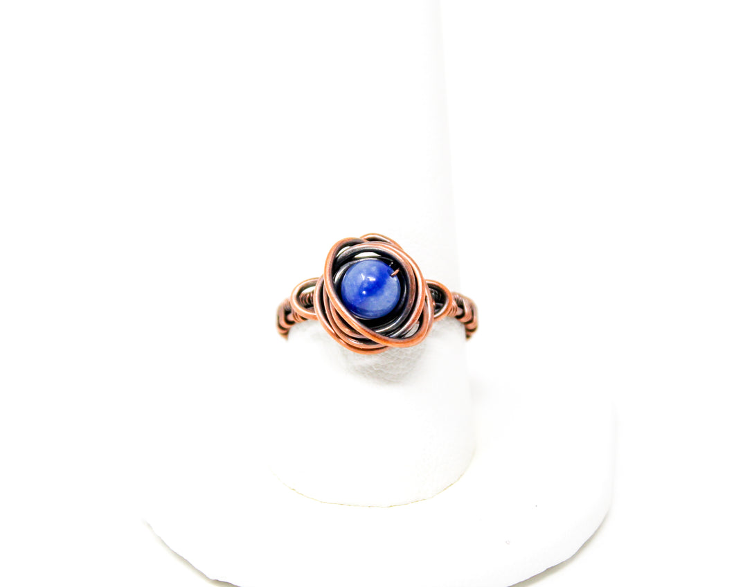 Blue Aventurine Copper Wirewrapped Ring Size 10