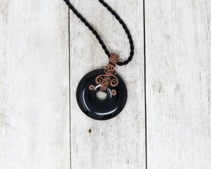 Black Onyx Wire Wrapped Pendant