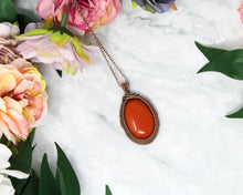 Load image into Gallery viewer, Red Jasper Copper Wire Wrapped Pendant