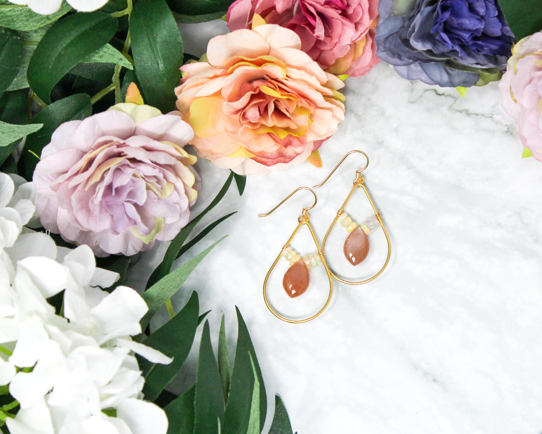 Peach Moonstone and Opal Gold Earrings