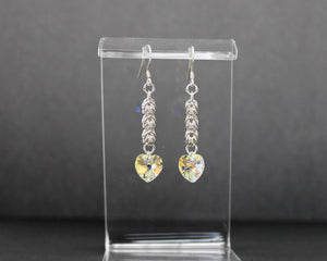 Crystal Heart Sterling Silver Earrings