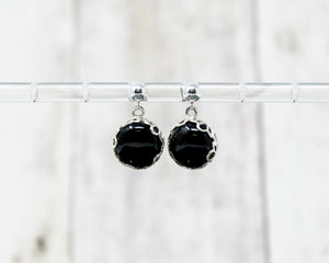 Black Onyx Stud Drop Earrings