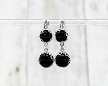 Load image into Gallery viewer, Black Onyx Double Drop Earrings