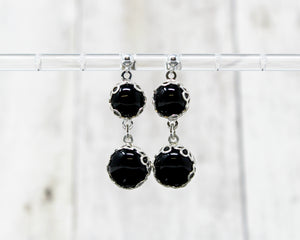 Black Onyx Double Drop Earrings