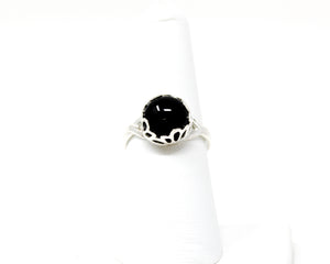 Black Onyx Sterling Silver Ring 10mm