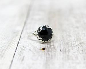 Black Onyx Sterling Silver Ring 12mm