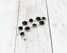 Load image into Gallery viewer, Black Onyx Sterling Silver Lotus Bracelet