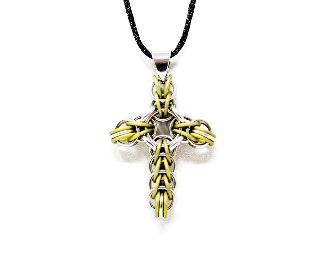 Celtic Cross Mixed Metal Chainmaille Pendant