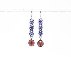Purple Crystal Sweet Pea Dangle Earrings