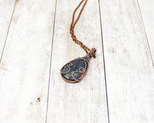Swirly Labradorite Copper Wirewrapped Pendant
