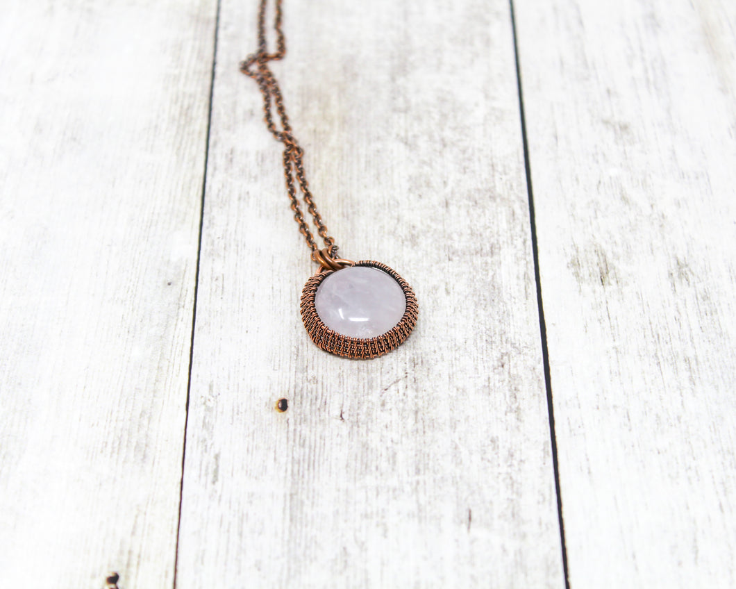 Rose Quartz Halo Wirewrapped Pendant