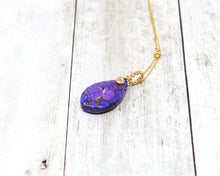 Load image into Gallery viewer, Purple Turquoise 14kt Gold fill Wirewrapped Pendant