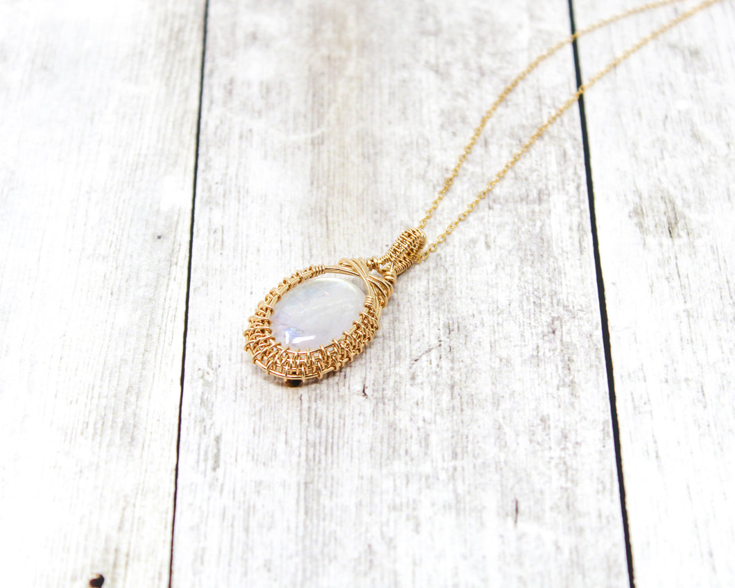 Moonstone 14kt Gold Wirewrapped Pendant